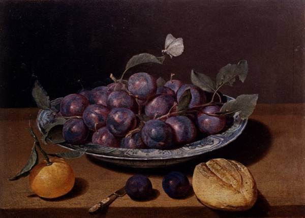 Still Life Of A Plate Of Plums And A Loaf Of Bread